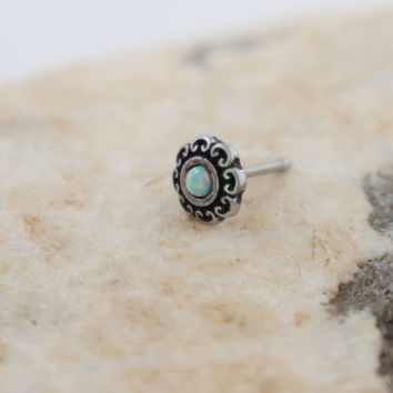 Opal Tribal Heart Nose Stud, Antique Silver Nose Stud, Nose Piercing, Nose Jewelry, Body Piercings