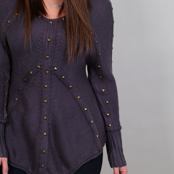 Lovely In Studs Knit {Dark Grey}