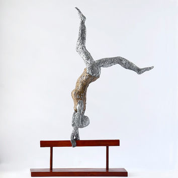 Metal art sculpture - aerobic gymnastics on balance beam - Metal wire mesh Sculpture - home decor - Contemporary art