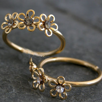 Floral Ring ,Gold Flowers Ring,Gold Ring , Stacking rings,