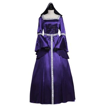 Women's Purple Renaissance Medieval Dress Hooded Dress Custom Made