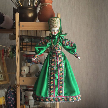 Russian Souvenir (Display / Hanging) Doll 20'' with porcelain head, hands and feet. Folk Dress, Kokoshnik, Wall Decor