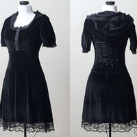 Black velvet lace corset gothic lolita dress - handmade custom size - smarmyclothes steampunk goth