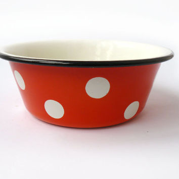 Vintage red enamel bowl in white peas, circles. Metal bowl. Soviet vintage. Country kitchen decor, Tableware, Polka Bowl, red ware,