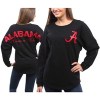Alabama Crimson Tide Women's Pom Pom Jersey Oversized Long Sleeve T-Shirt - Black