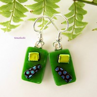 Green Gladness Happy Handmade Dichroic Glass Dangling Earrings OOAK | Umeboshi - Jewelry on ArtFire