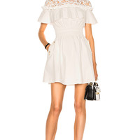 self-portrait Hudson Mini Dress in White | FWRD