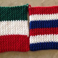 Italian American Italy USA Holiday Knitted Pot Holders Trivets