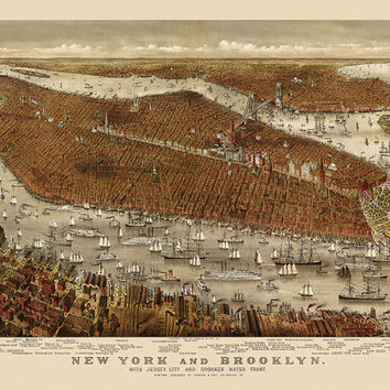 Antique Map of New York City (c1877) by Currier and Ives - Archival Reproduction