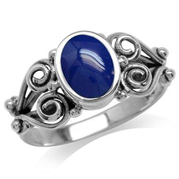 Created Blue Lapis 925 Sterling Silver Victorian Style Ring
