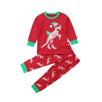 Toddler Kid Baby Girl Boy Christmas Dinosaur Tops Pants Outfit Nightwear Pajamas  baby kids boy girl cotton blend clothing set