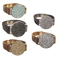 Iridescent Flat Leather with Round Pave Center Bracelet
