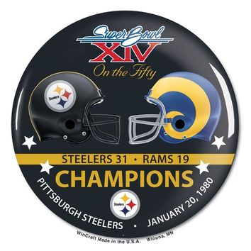 PITTSBURGH STEELERS ST. LOUIS RAMS SUPER BOWL XIV CHAMPS ON THE FIFTY BUTTON
