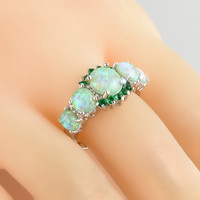 Fashion Green Fire Opal Women Elegant Jewelry Real Gems Crystal Silver Ring Nice Gift