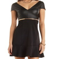 Faux Leather Fluted Skater Dress by Charlotte Russe