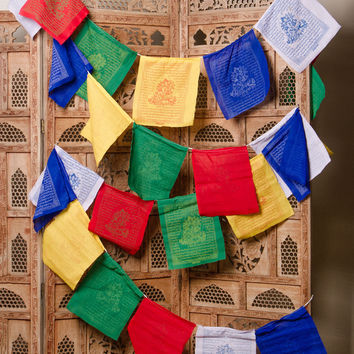Tibetan Green Tara Prayer Flags - Enlightenment and Success