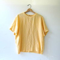 Vintage yellow silk top. Oversized silk shirt. Boxy silk tee shirt.