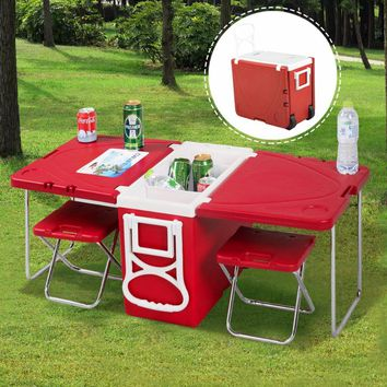 Goplus Multi Function Rolling Cooler Box Picnic Camping Outdoor Furniture Set Folding Table + 2 Chairs