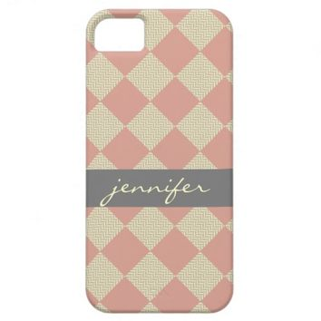 Chic quilt, pink & gray chevron, personalized