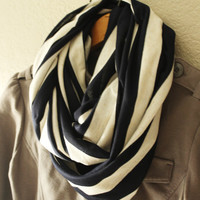 Infinity scarf, circle scarf, eternity scarf, loop scarf, tube scarf, Navy, Navy Stripe, Knit Scarf, Nautical, LIMITED EDITION