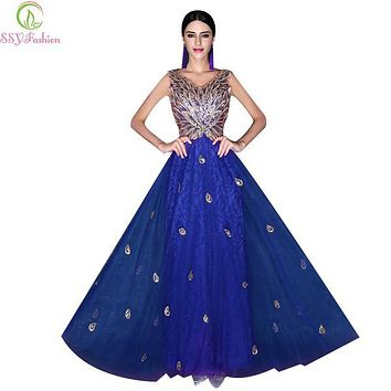 2017 new SSYFashion Grace Royal Blue Long Evening Dress V Collar Sequineds Peacock Pattern Embroidery Luxury Prom Party Dress
