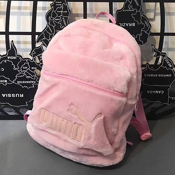 PUMA Women Fashion Velvet Shoulder Bag Bookbag Backpack Daypack