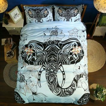 Cool Animal print Bedding set Rock elephant Bedding bed linen Bohemian Mandala Bedding Set Duvet Cover Pillowcase Full Queen KingAT_93_12