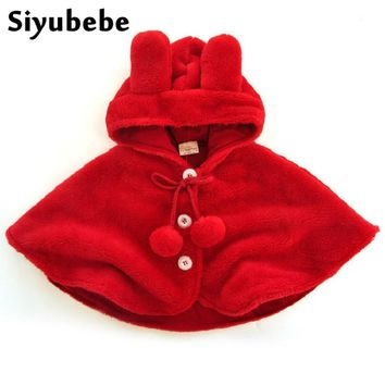 Newborn Baby Girls Red Cloak 2017 Baby Girl Clothes Kids baby Poncho Fleece Cloak Hooded Children Coat Clothing Cape Outerwear