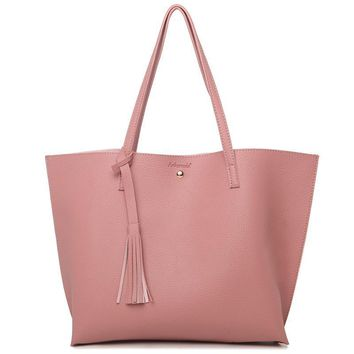 Women's PU Leather Spring Minimalist Tassel Shoulder Totes Bags