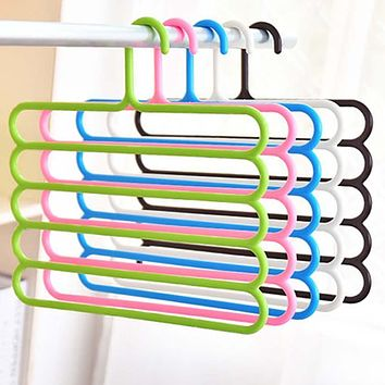 Pants Hangers Holders For Trousers Towels Clothes Apparel Hangers Five-layer Space Saving