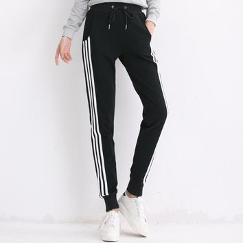 Black Gray White Striped Pants Sweatpants Women Side Stripe Trousers Casual Cotton Plus Size Elastic Pants Joggers Tracksuit