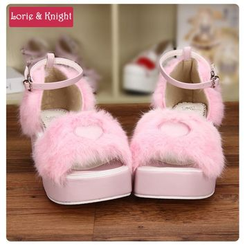 Sweet Pink Rabbit Fur Wedge Platform Heel Princess Girl Lolita Sandals Summer Shoes