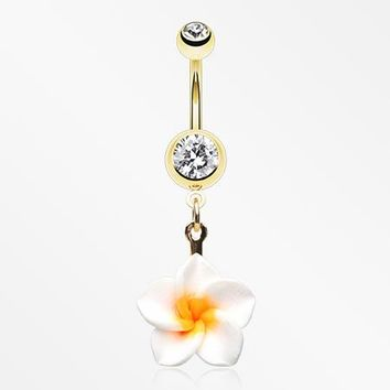 Golden Classic Plumeria Flower Belly Button Ring