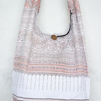 YAAMSTORE thai northern art graphic white hobo hippie boho bag sling shoulder crossbody purse