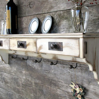 Distressed Wood Shelf Coat Rack Shabby Cottage by TheWoodenAttic