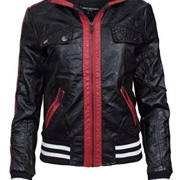 Urban Republic Women's Moto Bomber Faux Leather Jacket