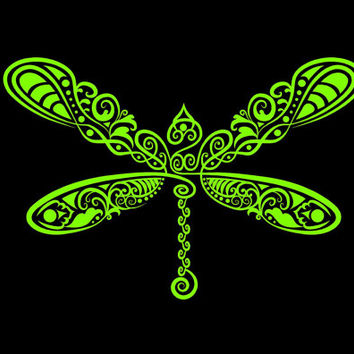 Dragonfly Intricate dragonfly Vinyl Decal car truck auto vehicle window custom sticker hearts