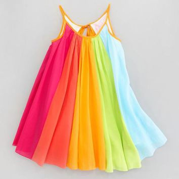 MUQGEW Flower Girl Dresses Toddler Kids Baby Girl Princess Clothes Sleeveless Chiffon Tutu Rainbow Dresses Vestido Z06