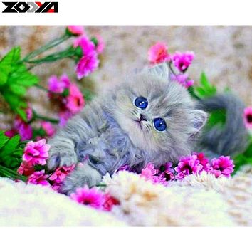 ZOOYA 5D DIY diamond embroidery Kitten in the flowers diamond painting Cross Stitch full square Rhinestone mosaic decoration