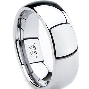 8mm Tungsten Metal  (5/16 in) High Polished Comfort Fit Domed Wedding Band Ring (Platinum)