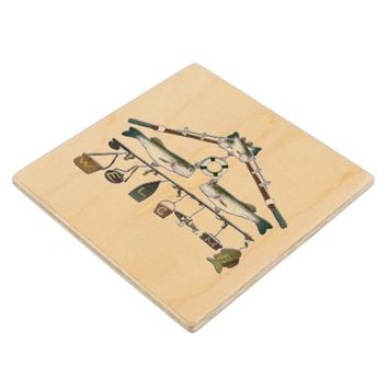 Welcome Fishing Rod Bass Fish Wooden Coaster