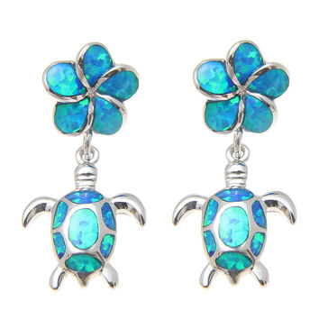 925 STERLING SILVER INLAY OPAL HAWAIIAN PLUMERIA DANGLE HONU SEA TURTLE EARRINGS
