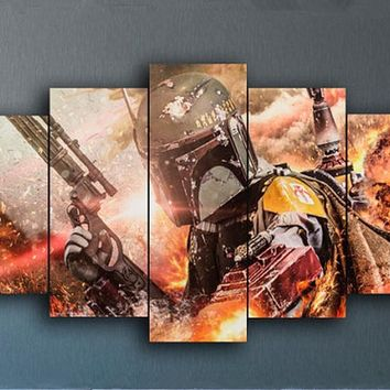 "LARGE 60""x32"" 5 Panels Art Canvas Print Boba Fett Uses His Flamethrower Star Wars Movie Posters (No Frame)"