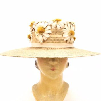Gorgeous Antique Straw Hat Wide Brim Womens Victorian Daisies Applique Large