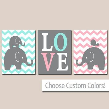 TWIN ELEPHANT Nursery Wall Art, Elephant Canvas or Prints, Baby Girl Boy Elephant Decor, Twin Bedroom Decor, Pink Aqua Wall Decor Set of 3
