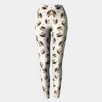 Autumn Leaves Motif Pattern Print Leggings Leggings