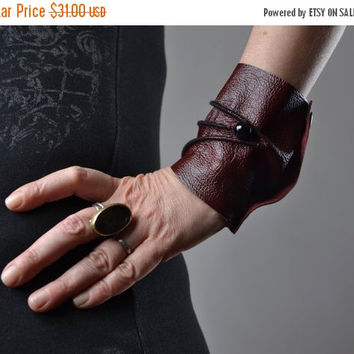 End Of Summer SALE Burgundy Leather Cuff Bracelet - Leather Cuff Bracelet - Leather Cuff - Summer Accessories - Handmade Leather Cuff