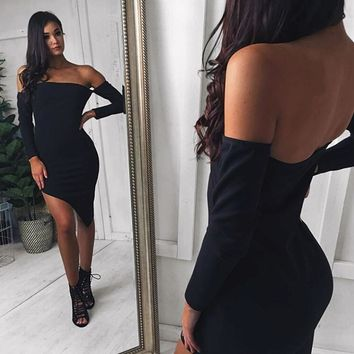 Asymmetrical Autumn Dress Sexy Womens Off Shoulder Bandage Bodycon Evening Party Zippers Club Mini Dress