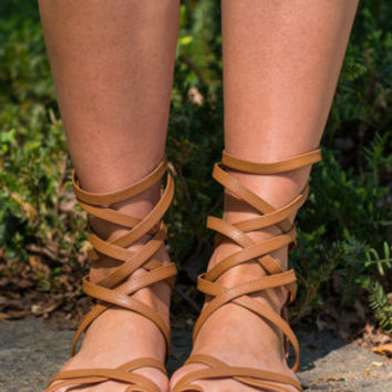 Roman Empire State Of Mind Gladiator Sandals, Camel
