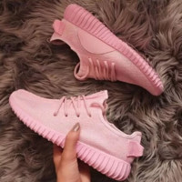 Fashion Adidas Yeezy Boost Solid color Leisure Sports shoes Pink
